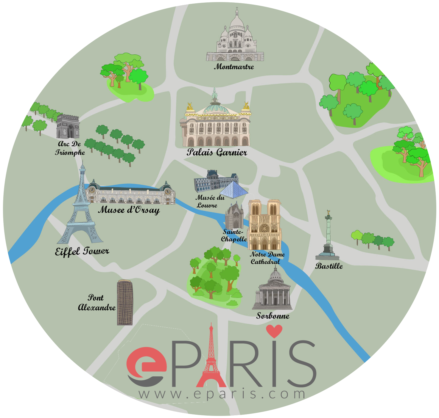 Paris Map of Attractions – Attraction Map of Paris